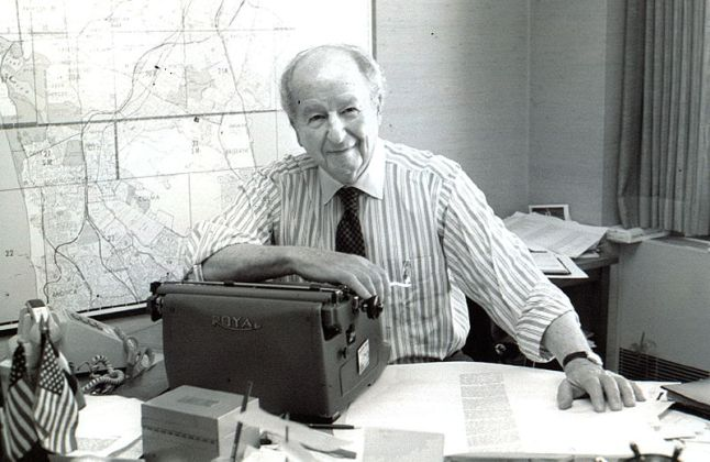 San Francisco Chronicle newspaper columnist Herb Caen in his office at 901 Mission Street in San Francisco May 1994. Photograph by Nancy Wong