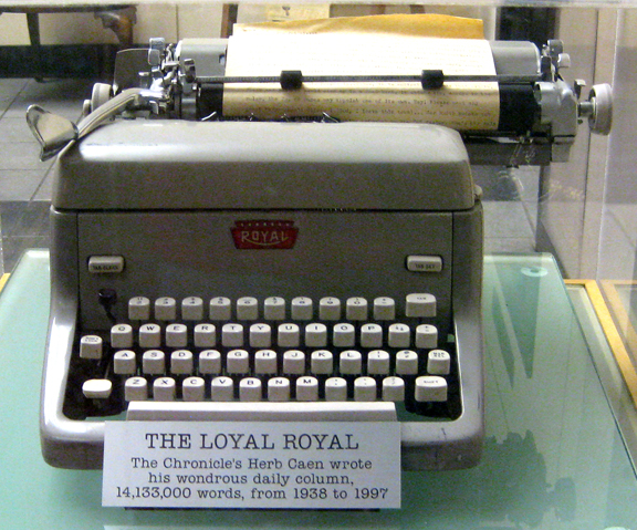 """Loyal Royal,"" typewriter of Herb Caen, longstanding columnist of the San Francisco Chronicle, on display in the lobby of the Chronicle Building on 5th Street in San Francisco, CA"