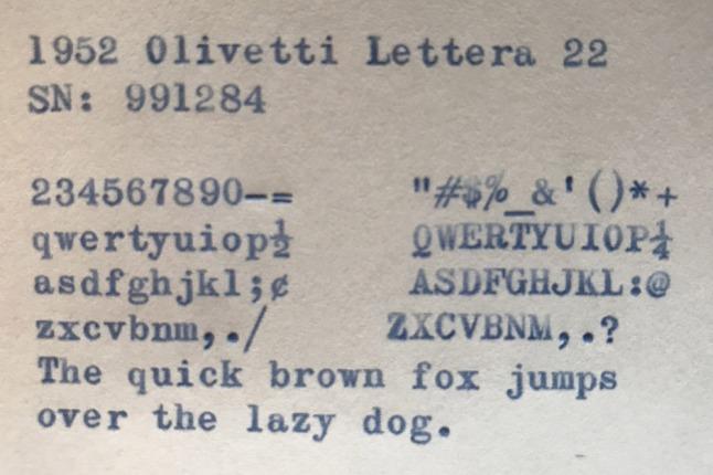 Olivetti Lettera 22 - typeface is Olivetti Elite Victoria